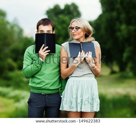 nerds in the park - stock photo