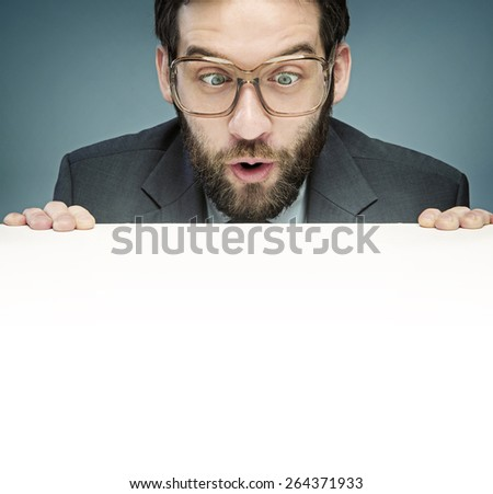 Nerdy businessman, lots of copy-space - stock photo