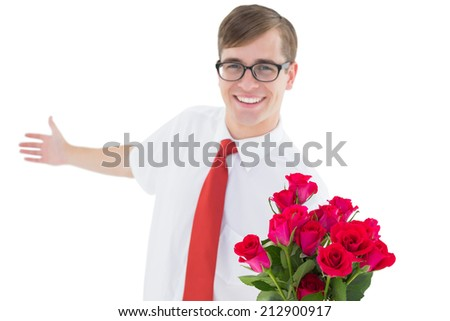 Nerdy hipster offering bouquet of roses on white background - stock photo