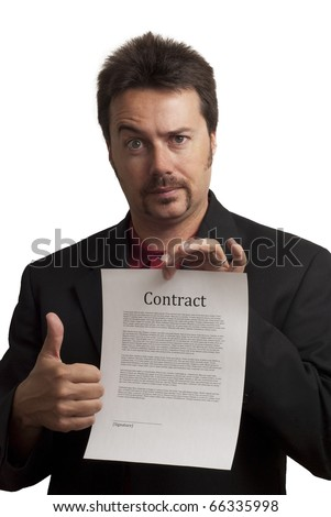 Nerdy looking business man, giving thumbs up to a fake contract. Studio Shot on white background - stock photo