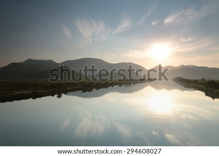 Neretva River in the valley of Dinaric mountains, Croatia. - stock photo