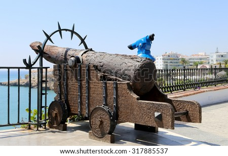 NERJA, SPAIN- AUGUST 25, 2014:Balcon de Europa in Nerja, Spain - stock photo