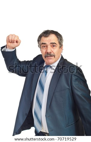 Nervous and confused mature business man showing his fist isolated on white background - stock photo