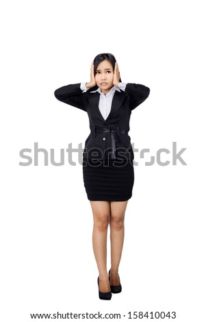Nervous scared business woman isolated in full length on white background.  - stock photo