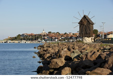 """Nesebar is an ancient city and a major seaside resort on the Black Sea coast of Bulgaria. Often referred to as the """"Pearl of the Black Sea"""" and """"Bulgaria's Dubrovnik. - stock photo"""