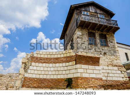 NESSEBAR, BULGARIA - July 2013, Bulgaria. Nessebar in 1956 was declared as museum city, archaeological and architectural reservation by UNESCO. ruins of old town Nesebar in Bulgaria  - stock photo