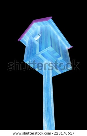 Nest box birdhouse on a black background - stock photo