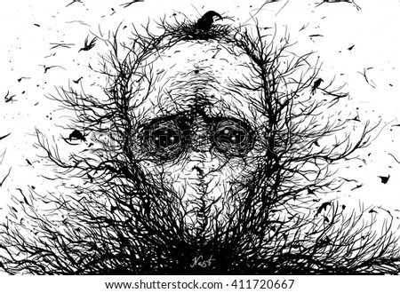 Nest.Surreal illustration of a person's nest with branches and birds - stock photo