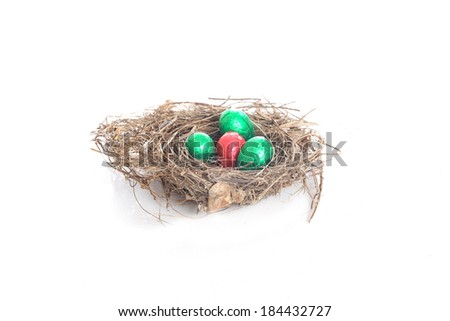 Nest with Chocolate Eggs - stock photo
