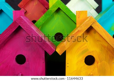 Nesting for Peace birdhouses - stock photo