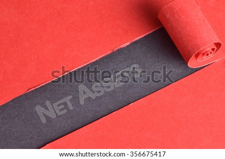 Net Assets word on blackboard and red torn paper - stock photo