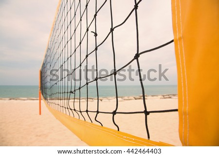 Net of beach volleyball court,color tone - stock photo