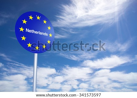 Netherlands Border Sign with clouds sky. 3D Rendering - stock photo