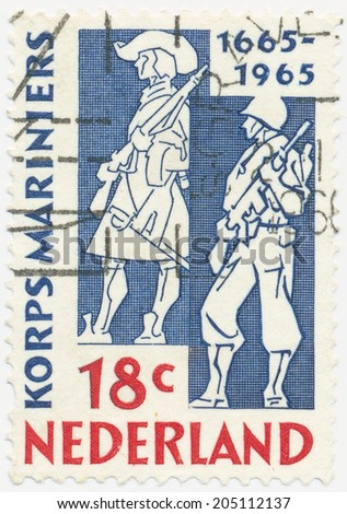 NETHERLANDS - CIRCA 1965: A stamp printed in Netherlands shows Marines of 1665 and 1965, circa 1965 - stock photo