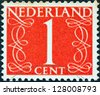 NETHERLANDS - CIRCA 1946: A stamp printed in the Netherlands shows it's value of 1 cent, circa 1946. - stock photo