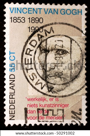 NETHERLANDS - CIRCA 1990: A stamp shows image commemorating 100 years since the death of Dutch Impressionist artist Vincent Van Gogh, circa 1990 - stock photo