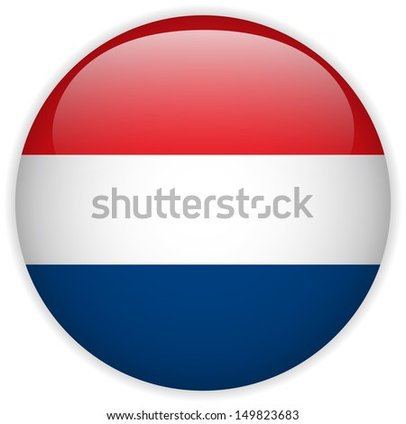 Netherlands Flag Glossy Button - stock photo