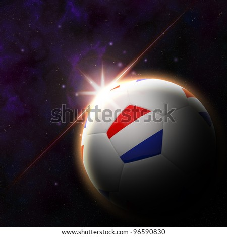 Netherlands flag on 3d football with rising sun illustration for euro 2012 Group B - stock photo