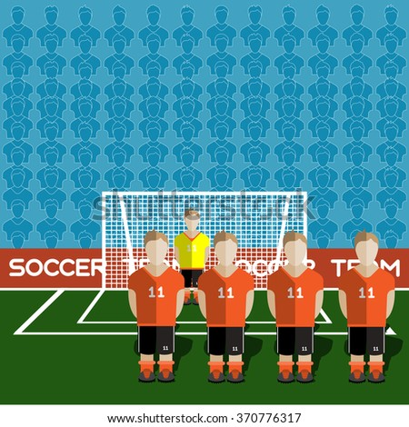 Netherlands Football Club Soccer Players Silhouettes. Computer game Soccer team players big set. Sports infographic. Football Teams in Flat Style. Goalkeeper Standing in a Goal. Raster illustration. - stock photo