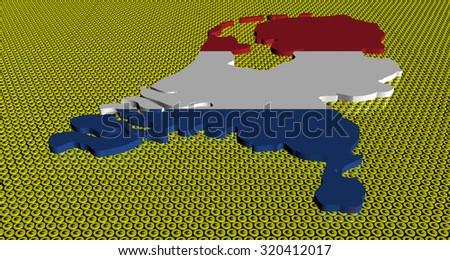 Netherlands map flag on golden euros coins illustration - stock photo