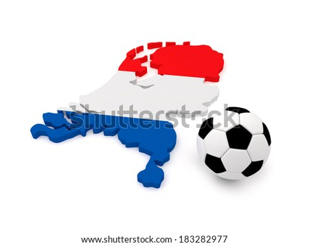 Netherlands Map with Soccer Ball - stock photo