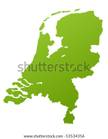 Netherlands or Holland map in green, isolated on white background. - stock photo
