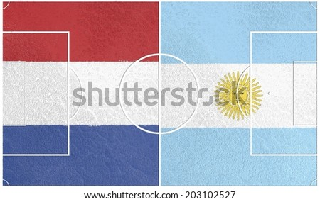 netherlands vs argentina championship, football field textured by national flags - stock photo