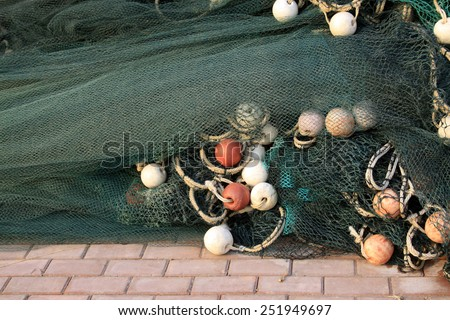nets and float, closeup of photo - stock photo