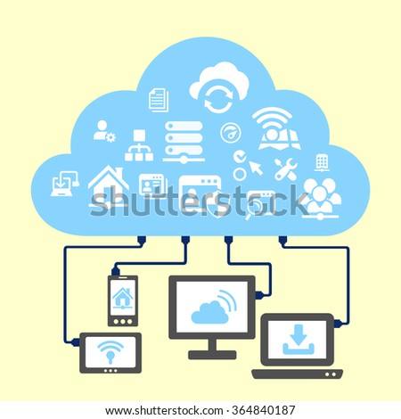 Network and cloud computing concept - icon connect to cloud - stock photo