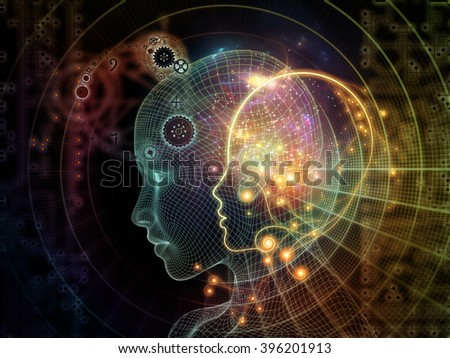 Network Avatar series. Composition of human heads, lights and grids on the subject of science, artificial intelligence and technology - stock photo