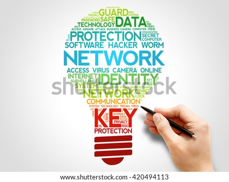 NETWORK bulb word cloud, business concept - stock photo
