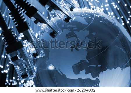 Network cable global - stock photo