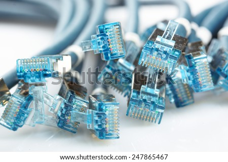 network cable with RJ45 connectors - stock photo