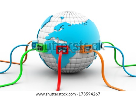 Network cables connected the globe - stock photo