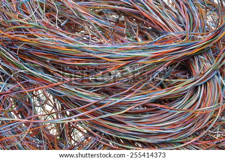 Network chaos of colorful cables  - stock photo