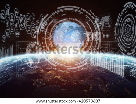 Network, charts and graphs connections over planet earth 'elements of this image furnished by NASA' '3D rendering' - stock photo