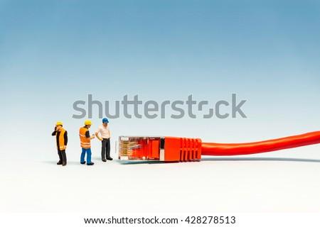 Network Communication concpet. Macro photo. - stock photo