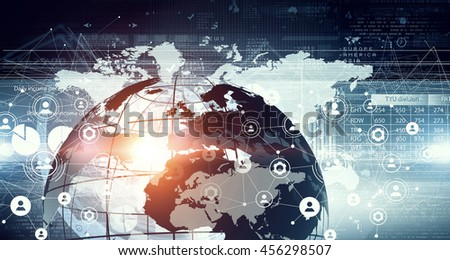 Network community concept .  Mixed media - stock photo