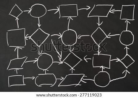 Network concept diagram drawn on the blackboard - stock photo