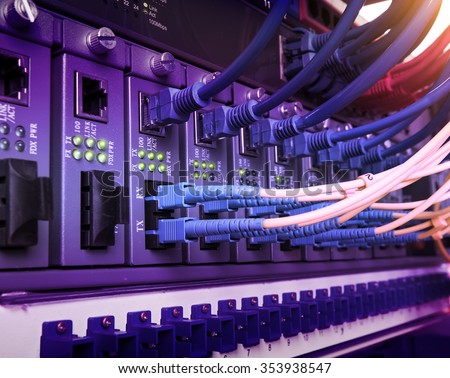 network concept,Fiber Optic cables connected - stock photo