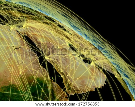 Network concept with Arabian peninsula viewed from space. Highly detailed planet surface with city lights. Elements of this image furnished by NASA. - stock photo