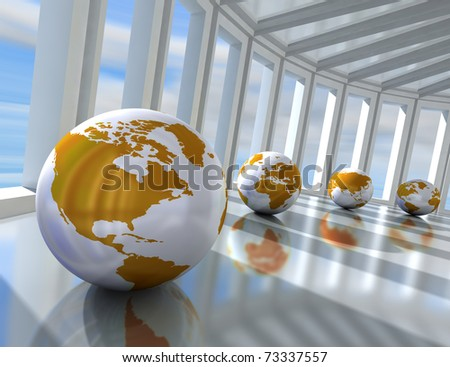 network concept with globe world map - stock photo