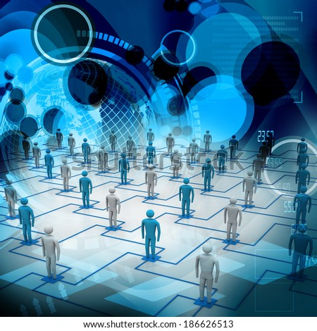 network, connecting people - stock photo