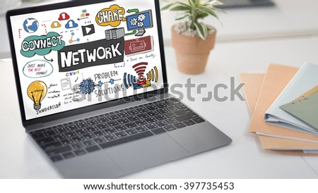 Network Connection Technology Digital Modern Concept - stock photo