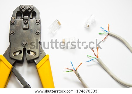network Connector  network cable  Tools for crimping network cable   - stock photo