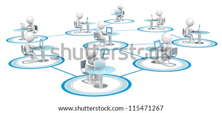 Network. 3D little human character X9 in a Network, sitting with Laptop. People series. - stock photo