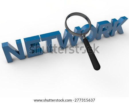 Network - 3D text with magnifier over white background - stock photo