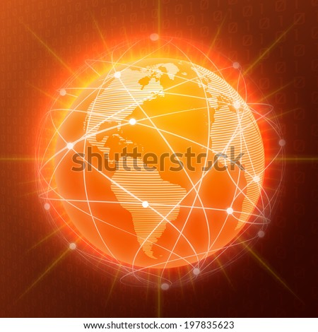 Network globe orange sphere earth map social media concept  illustration - stock photo
