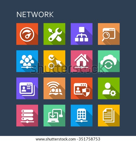 Network icon set - Flat Series with long shadows - stock photo