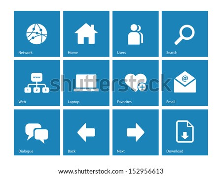 Network icons on blue background. See also vector version. - stock photo
